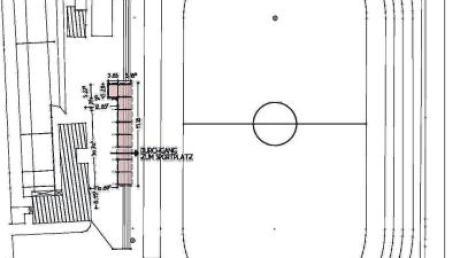Gut 40 Meter lang soll die Tribünen-Stahlkonstruktion werden. Auch ein Durchgang ist vorgesehen.