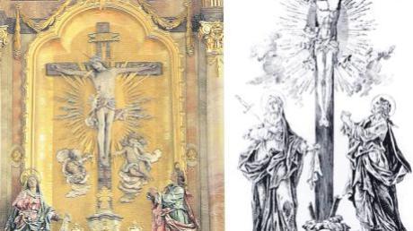 """Das große Kreuz in der Pfarrkirche Pfaffenhausen galt einst als wundertätig und war Grundlage einer großen Wallfahrt. Ein Bilddokument aus dem 17./18. Jahrhundert mit der Unterschrift """"Wahre abbildung Jesum des gekreuzigten in Pfaffenhausen"""" ist erhalten geblieben (rechts). Das Kreuz, das Bestandteil eines seitlichen Kreuzaltars war, wurde anno 1789 in die neue Kirche übernommen und in eine Kreuzigungsszene am Hochaltar integriert."""