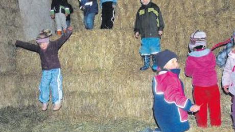 Wer sagt denn, dass eine Hüpfburg immer aufgeblasen sein muss? Die Kinder hatten bei der Heu-Hüpfburg in Dirlewang mindestens ebenso viel Spaß.