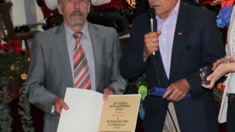 Uli Theophil ehrte Alfred Ziaja (links) für 35 Jahre Ehrenamt und 50 Jahre Mitgliedschaft bei der Spielvereinigung Wiedergeltingen.