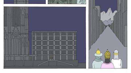 Dieser Cartoon des Kölner Künstlers Matthias Weber zeigt, wie die Heiligen Drei Könige, deren Gebeine im Kölner Dom ruhen, ihren Schrein verlassen, um sich ins Heilige Land aufzumachen. Das Poster ist im Mindelheimer Museumsshop erhältlich – der Verkaufserlös geht an den Verein Zeltschule, der in Syrien Kindern hilft.