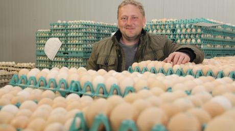 Eier, wohin man blickt: Allein auf eine Palette passen 8640 Stück, erklärt Firmenchef Philipp Egger. Die Bio-Eier stammen aus Bayern und werden im Unterallgäu in der rund 18 Grad kühlen Halle sortiert und verpackt.