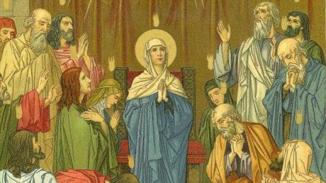 Das Pfingstwunder in der Kunst: Der Heilige Geist kommt mit Feuerzungen über die Jünger und Maria herab.