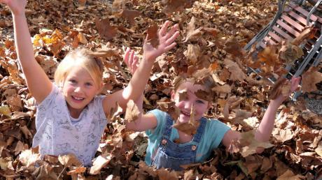 """Bis zum Bauch in den Herbstblättern steckten die beiden achtjährigen Freundinnen Hanna und Gloria aus Mindelheim. In ihrem """"selbstgebauten"""" Blätterhaufen hatten sie viel Spaß."""