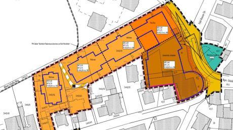 Der Bebauungsplan für die Löwenbräu-Arkaden. Auf der grünlichen Fläche rechts steht derzeit noch ein Haus. Dort soll ein Platz entstehen.