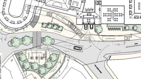 So soll der Bereich vor den Löwenbräu-Arkaden einmal aussehen. Dazu gehört auch ein neuer Platz (hier im Bild unten) mit Wasserfontänen. An der Stelle steht derzeit noch ein Haus. Eine Baugenehmigung für die Arkaden steht noch aus.