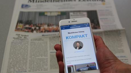 """Von Montag bis Freitag erhalten Sie um 19 Uhr unseren Newsletter """"Mindelheimer Zeitung Kompakt"""". Doch unsere neue App hat noch mehr Funktionen."""