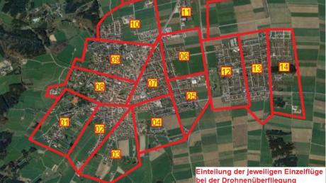 Die Stadt Bad Wörishofen hat am Donnerstag eine Karte veröffentlicht, welche die Gebiete zeigt, die ab Montag von einer Drohne überflogen und untersucht werden.