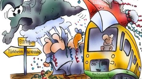 """""""Schlechtes Wetter oder gar ein Sturmtief zum Ettringer Nachtumzug? Diesmal nicht, meint auch MZ-Karikaturistin Denise Schwarze-Blanke. Die dunklen Wolken werden diesmal von den Narren einfach weggepustet."""