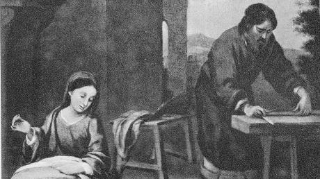 """""""Joseph der Zimmermann bei der Arbeit"""" – dieses Bild des Malers Murillo ziert ein altes Kirchenbuch. Am 19. März wird sein Namenstag gefeiert."""
