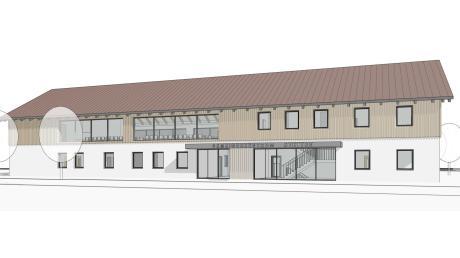 So könnte die neue Kindertagesstätte samt Bürgersaal aussehen: Oben und in der Mitte ist die Ansicht auf die Eingänge für die Kindertagesstätte und den Bürgersaal zu sehen, unten die Rückansicht.