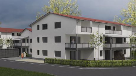 """Am Luitpold-Lipp-Weg und damit mitten in Rammingen integriert: 26 Wohneinheiten wird die Seniorenwohnanlage umfassen - und nach der Mehrzahl der Räte damit ein """"Prestigeobjekt"""" in Rammingen entstehen. Das Gebäude ganz rechts auf der Abbildung ist die Schule, entlang des Areals die Keltenstraße."""