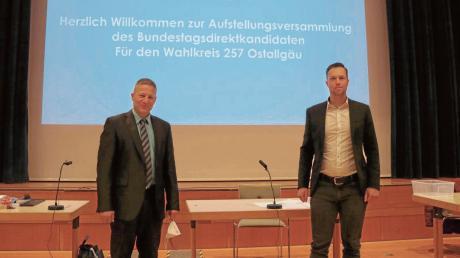 Christian Sedlmeir aus Mindelheim (links, mit Christoph Maier, dem Vorsitzenden des Kreisverbandes Unterallgäu-Memmingen) ist der Direktkandidat der AfD für den Bundestags-Wahlkreis 257.