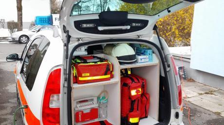 Mit umfangreicher Ausstattung können die First Responder bis zum Eintreffen des Rettungsdienstes und Notarztes qualifizierte Hilfe vor Ort leisten. Ähnlich bestückt wird auch das Türkheimer Einsatzfahrzeug sein.
