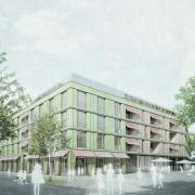So soll das Kreuzer-Areal in Bad Wörishofens Fußgängerzone einmal aussehen. Rund 70 Wohnungen sollen dort entstehen.