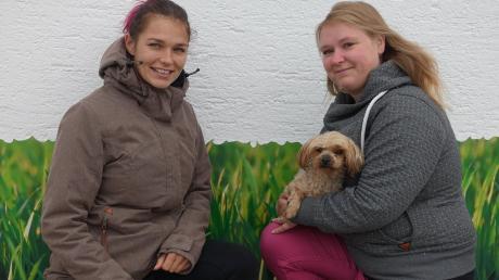 """Franzi Vavra (links) aus Irsingen und Svenja Döhl aus Türkheim (rechts, mit dem kleinen """"Peaches"""") wollen einen Verein gründen, um für Herrchen und Frauchen und deren Vierbeiner eine """"Hunde-Wiese"""" organisieren zu können."""