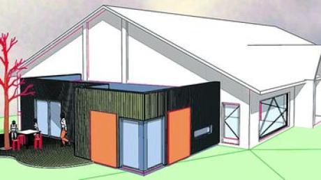 Die Architekten sind bereits am Planen: So könnte der Anbau der neuen Kinderkrippe am Kindergarten Kirchheim aussehen. Modell: Kling Architekten