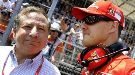 Der damalige Ferrari-Teamchef Jean Todt (links) und Michael Schumacher, der nach dem ersten Rücktritt als Testfahrer half, die Rennwagen zu optimieren.