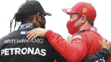 Rivalen, aber auch Freunde: Lewis Hamilton (l) und Sebastian Vettel.