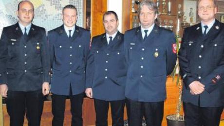 Feuerwehr Fahlheim vereinigt (von links): Karl Merkle, Sebastian Jehle, Steffen Müller, Manfred Sauter und Kommandant Andreas Frey.