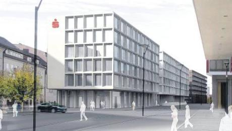 """Dieser Entwurf von Nething Generalplaner setzte sich im Wettbewerb als Entwurf für den Neubau der Sparkasse Ulm durch. Die Animation zeigt rechts das """"Münstertor"""" der Neuen Mitte. Dunkel im Hintergrund: der zweite geplante Sparkassenneubau gegenüber des Neuen Baus."""
