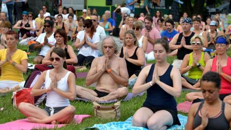 Bei der großen Aktion auf der Donauwiese zum Welt-Yoga-Tag durfte jeder mitmachen: Einsteiger, Hobby-Yogis oder ausgebildete Profis.