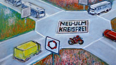 Neu-Ulm kreisfrei? Im Kreisverkehr könnte das Probleme geben (Bild oben), findet Karikaturist Werner Fischer (Bild unten rechts, mit Frau Anneliese). Er will lieber Kreuzfahrtschiffe auf der Donau (Bild unten links).