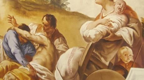In Franz Martin Kuens großen Dramen an der Kirchendecke hatten auch kleine Dinge Platz, so wie der Bub unten rechts im Bild. Er ist vermutlich ein tatsächliches Mitglied einer Gemeinde. Kuen hat oft Gläubige des Ortes in den Kirchen verewigt, die er ausmalte. Sie konnten sich dann beim Gottesdienst selber in die Augen schauen, wenn sie nach oben blickten.