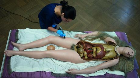 """Anna Jermolaewas Fotoarbeit """"V"""" zeigt eine Restauratorin bei der Arbeit an einem historischen anatomischen Modell."""