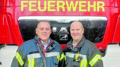 Andreas Hoffzimmer (links) wurde mit großer Mehrheit als Kommandant im Amt bestätigt. Ebenso sein Stellvertreter Andreas Haitchi.