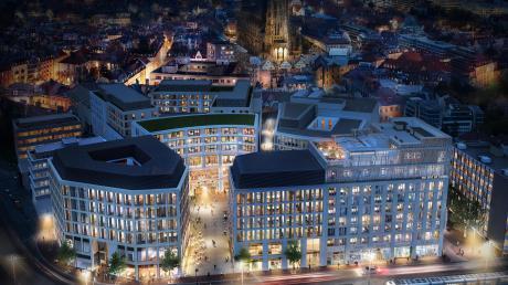 Rund um den Albert-Einstein-Platz gruppieren sich fünf Gebäude, die vor allem im Unter- und Erdgeschoss Handel vorsehen. Rechts: Der Bahnhofplatz 7 mit dem Hotel plus Dachterrasse.