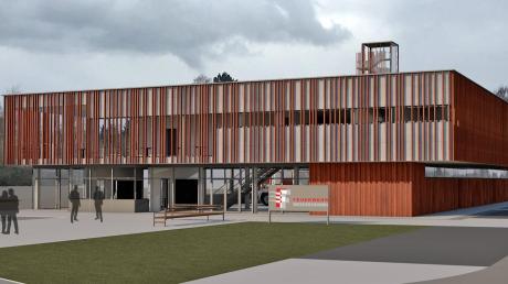 So soll das neue Feuerwehrhaus an der Illerberger Straße aussehen. Die Fassade besteht aus Cortenstahl wie bei der Fuggerhalle.