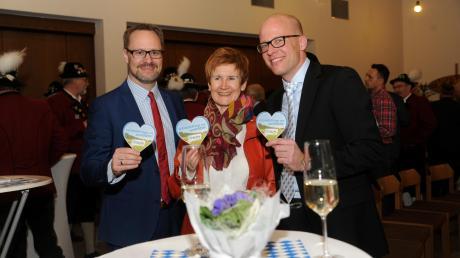 Beim Neujahrsempfang der CSU in Elchingen (von links): Landrat Thorsten Freudenberger, Martha Moritz und Tobias Schirmer.