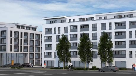 So sollen die beiden neuen Gebäude aussehen, die ein Investor an der Kemptener Straße in Senden plant. Sie enthalten neben 60 Wohnungen und einer Tiefgarage auch Flächen für Gewerbe, etwa einen Nahversorger im Erdgeschoss.