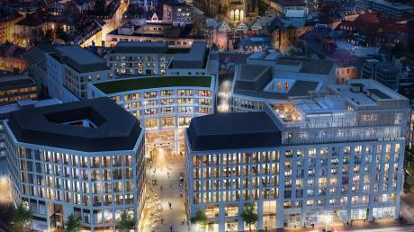 Noch sind die meisten Fassaden der Sedelhöfe mit Gerüsten verdeckt. Diese Visualisierung zeigt, wie das Einkaufsquartier zur Eröffnung am 16. Juli aussehen soll. Nur das Hotel am rechten Bildrand wird später fertig.