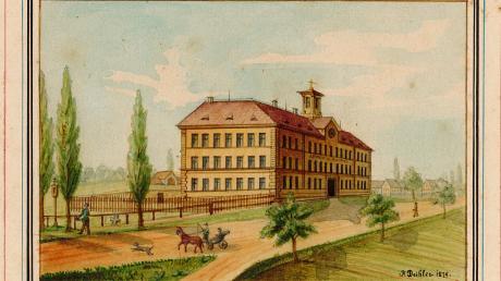 Das neue Weißenhorner Spital im Norden der Stadt, so wie es der Weißenhorner Zeichenlehrer Franz Daibler 1879 aquarelliert hat. Trägerin war die Heilig-Geist-Spitalstiftung, die vor 550 Jahren ins Leben gerufen wurde.