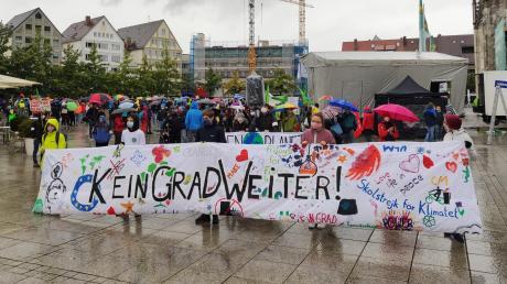 """""""Kein Grad weiter"""" steht auf dem Plakat von Fridays for Future Ulm."""