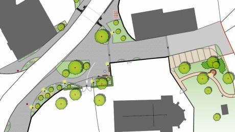 Die überplante neue Dorfmitte von Rohrenfels an der Pfarrkirche bekommt mehr Platzcharakter (grau unterlegt) und wird grüner.