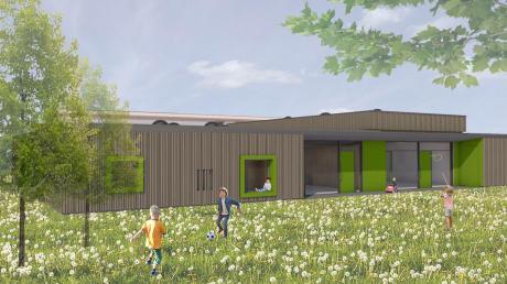 So soll der neue Anbau des Kindergartens St. Elisabeth in Rohrenfels aussehen. Zwei Krippengruppen entstehen dort.