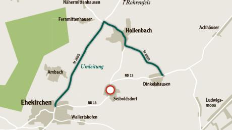 Diese Umleitung müssen Autofahrer nehmen, die durch Seiboldsdorf fahren wollen.