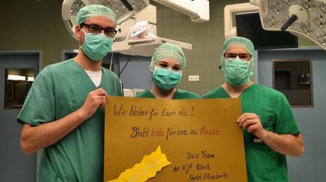 """Das Personal des Neuburger Krankenhauses bittet um Verständnis für das Besuchsverbot: """"Wir bleiben für euch da! Bleibt für uns zu Hause!"""""""