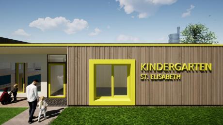 Die neue Kinderkrippe von außen: Die Fassade bekommt durch unterschiedlich dicke und breite Holzlatten eine lebendige Oberfläche, die großen Fenster setzen optische Akzente.