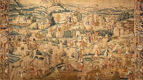 Auf dem Wandteppich im Schlossmuseum Neuburg ist die Abfahrt aus Jaffa nach Ottheinrichs Pilgerfahrt ins Heilige Land zu sehen.