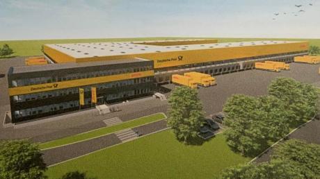So soll das Paketzentrum der Deutschen Post aussehen, das zwischen Maxweiler und Weichering entstehen soll. Mit dem Bau soll 2023 begonnen werden, fertig sein soll es dann 2025.
