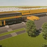 So soll das Paketzentrum der Deutschen Post aussehen, das zwischen Maxweiler und Weichering ab 2023 entstehen soll.