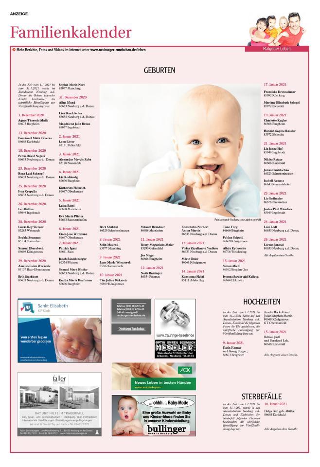 Familienkalender Neuburg KW07/2021