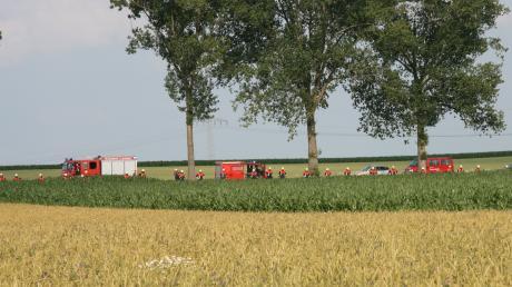 Bei der Suche nach Tier und Mensch durchpflügten rund 55 Feuerwehrmänner die Felder zwischen Deiningen und Klosterzimmern.