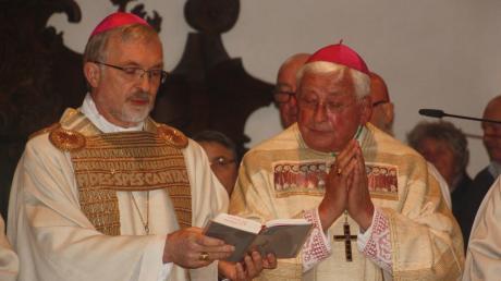 In der Wallfahrtsbasilika von Maria Brünnlein feierte Walter Mixa (rechts) einen Dankgottesdienst anlässlich seines 75. Geburtstags. Die Predigt hielt Diözesanbischof Gregor Maria Hanke (links).