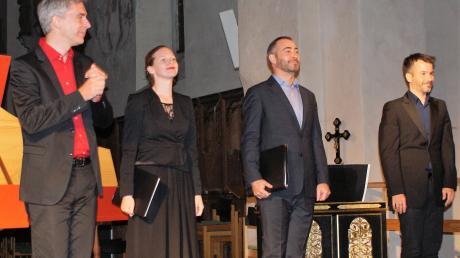 """Das Ensemble """"musica cubicularis"""" mit (von links) Domen Marincic (Cembalo), Theresa Dlouhy (Sopran), Matthew Baker (Bass) und Tomaz Sevsek (Truhenorgel) in der Auhausener Klosterkirche."""