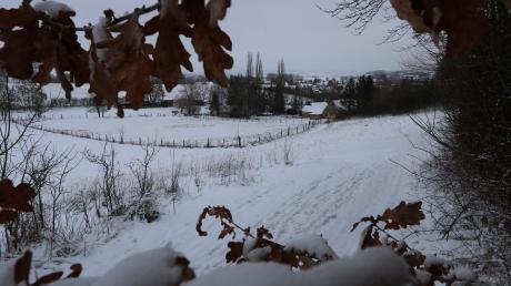Der Schellenberg in Oettingen mit Schnee, zu wenig allerdings für ausgiebige Schlittenfahrten.